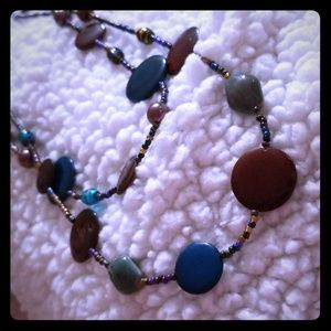 Teal and Burnt Orange Beaded Necklace